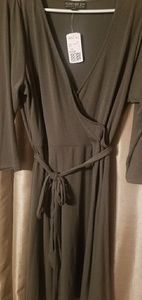 Forever 21 Olive green faux wrap dress.